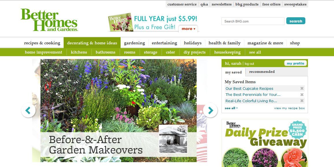 Better Homes And Gardens Website Redesign A Hen 39 S Nest