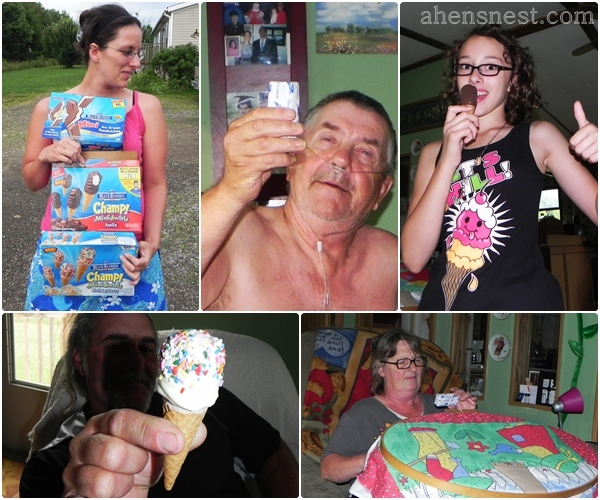 sharing Bue Bunny ice cream with my mom and step-dad