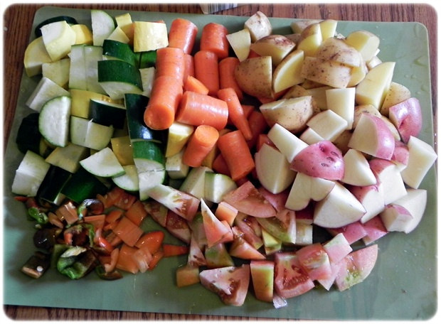 chopped veggies for stew