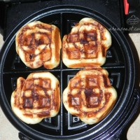 waffled cinnamon rolls cooked