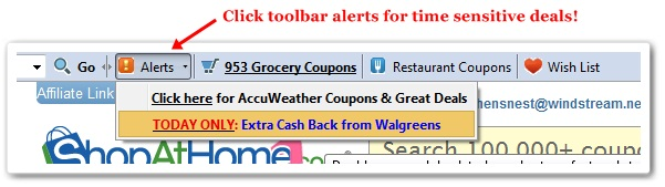 ShopAtHome.com toolbar alerts