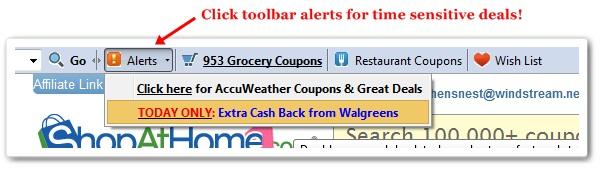 ShopAtHome.com toolbar alerts