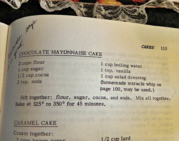 Amish mayonnaise cake recipe
