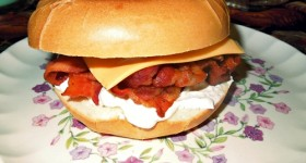 Bacon Bagel Sandwiches #recipe bring smiles