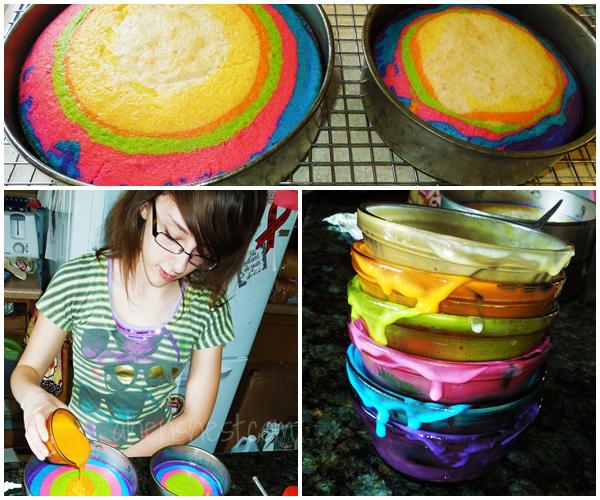 baking a rainbow cake
