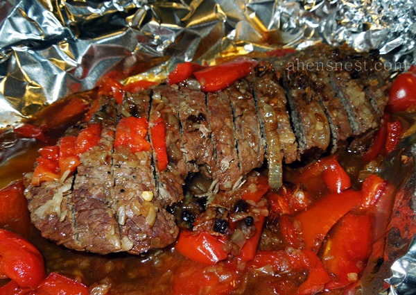 foil baked steak and peppers