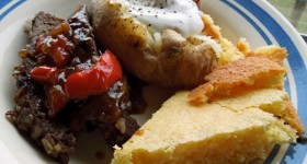 oven baked london broil steak and skillet cornbread