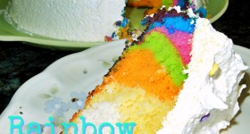 {almost} Wordless Wednesday – the making of the rainbow cake