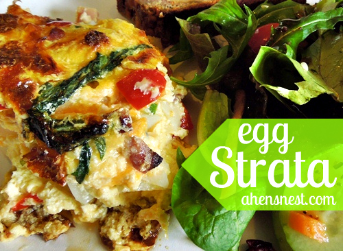 Egg Strata spring brunch strata with ham, potatoes and cheese #ebbrunch - a