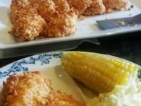 BBQ Baked Chicken Strips using Bagel Crisps Recipe #VZWSM #samp