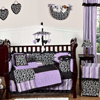 Click here for our Purple and Black Kaylee Girls Boutique Baby Bedding Set Review & Giveaway