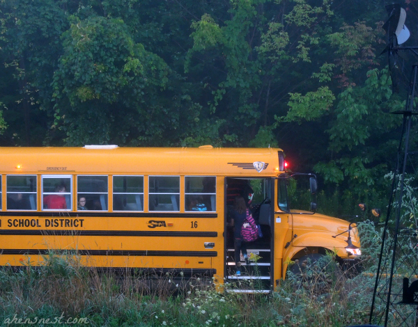 boarding the bus on the first day of school 2012