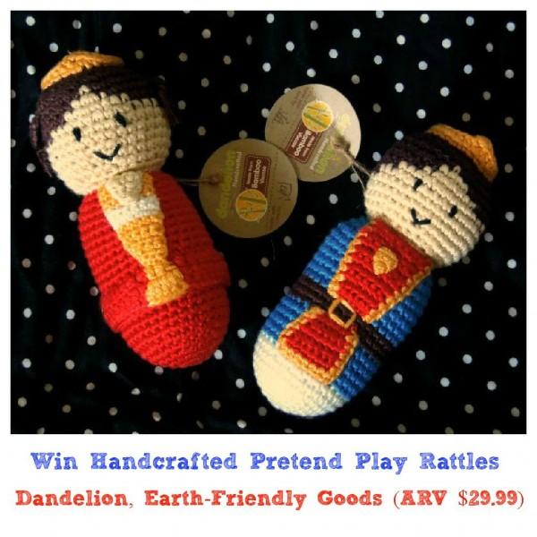 king queen rattle dandelion handmade