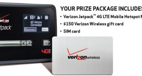 $150 Verizon Wireless gift card, 4G LTE Jetpack and SIM card #giveaway #VZWSM