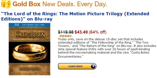 Amazon Gold Box Deal The Lord Of The Rings Trilogy Extended Deluxe 15 Disc Blu Ray Set A Hen S Nest Nw Pa Single Woman Mom Blog