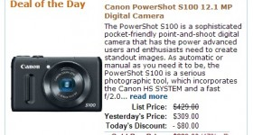 Amazon Gold Box Deal: Canon PowerShot S100 12.1 MP Digital Camera $229