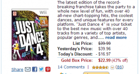Amazon Gold Box Deal: Just Dance 4 is 43% off today only!