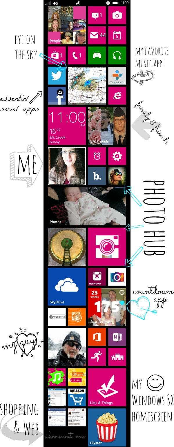 Windows 8X phone homescreen