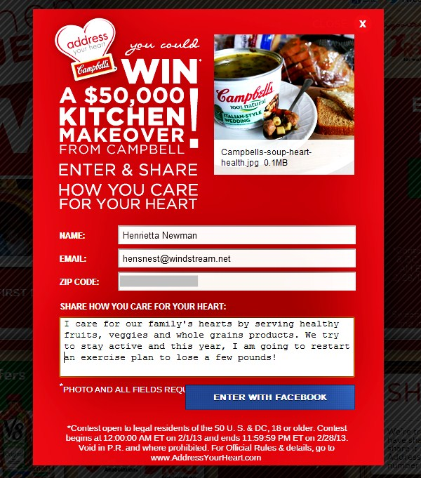 my entry Campbells heart health sweep