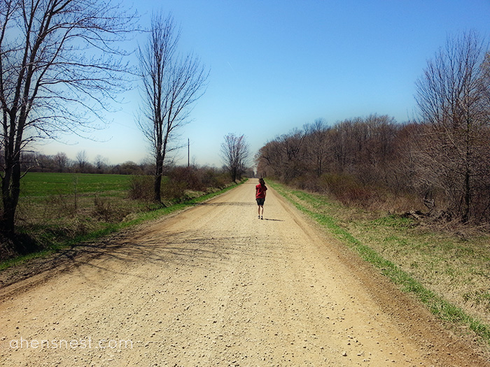 spring walk on a dirt road - headed home