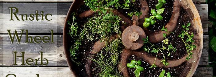 diy rustic wheel herb container garden project