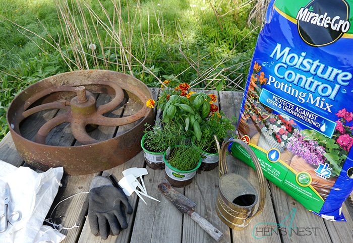 diy rustic wheel herb garden supplies