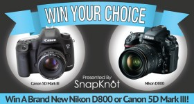 win a new Nikon D800 or Canon 5D Mark III