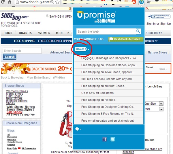 upromise RewardU toolbar cash back for college