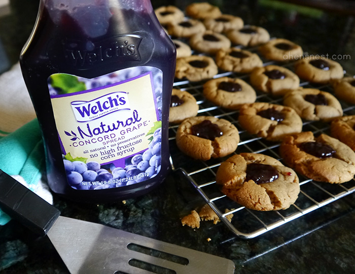 Welch's peanut butter and jelly thumbprint cookies