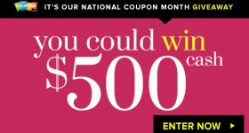 Coupons.com – Win $500 in National Coupon Month Giveaway – Enter Daily!