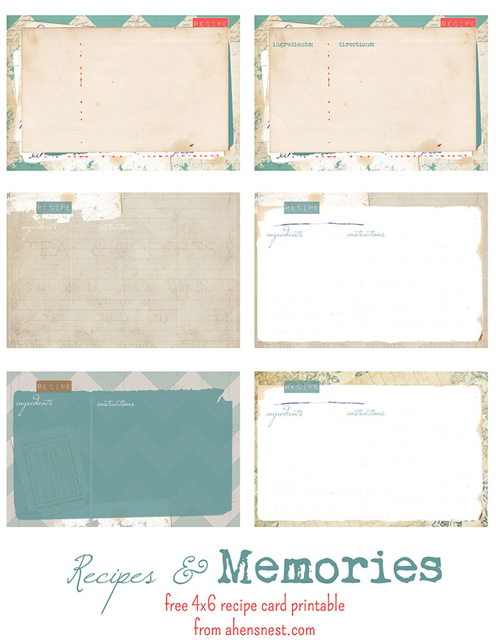 free printable vintage recipe cards printable