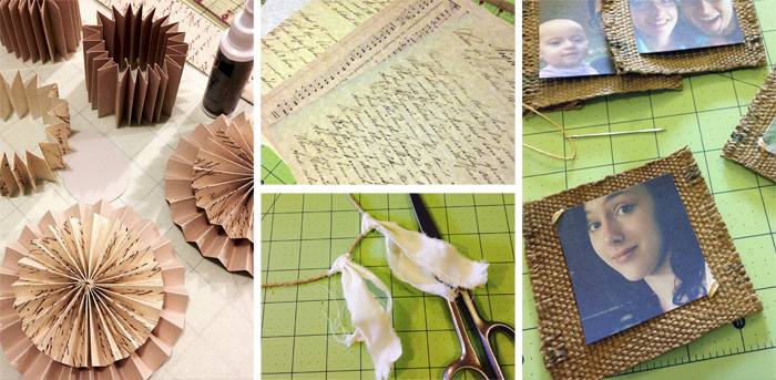 making a paper burlap photo garland