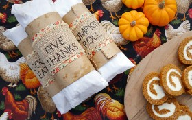 pumpkin rolls with burlap gift tag