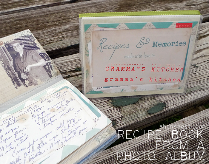 recipe book from a mini photo album