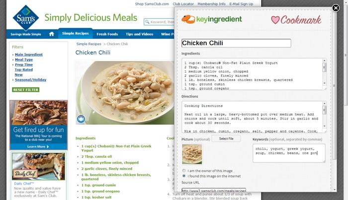 recipe reader- cookmark