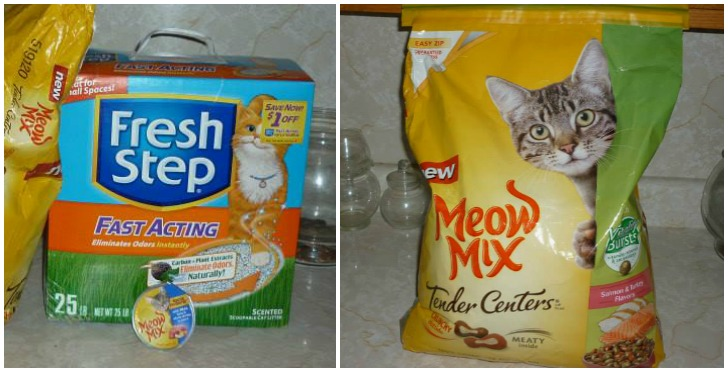 meow mix cat food and  fresh step cat litter