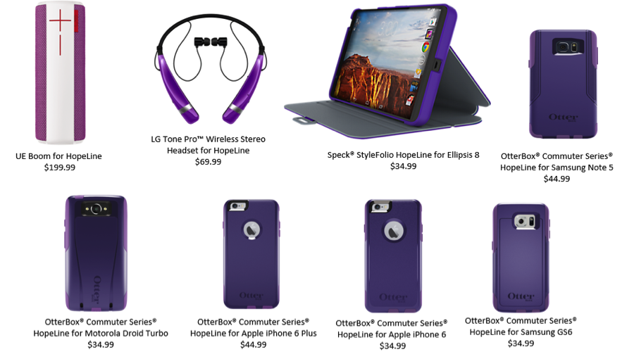 Verizon HopeLine program - exclusive purple accessories to support Domestic Violence Awareness Month