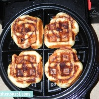 waffled cinnamon rolls cooked