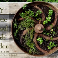 diy rustic wheel herb container garden project