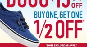 Buy One Get One 1/2 off with the Famous Footwear Back To School sale. Rewards members take an extra 20% off. Non-members take 15% off. Print your coupon to shop in-store sale 8/8 - 8/17.