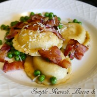cheese Ravioli bacon and peas
